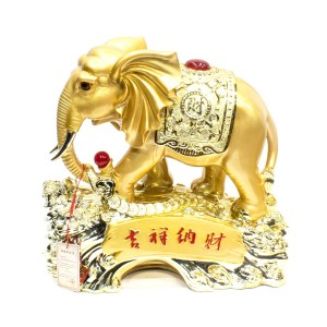 Poly Craft Golden Elephant Sculpture Standing On Treasure And Coins Chinese Inscriptions - CP2017/JM2-01