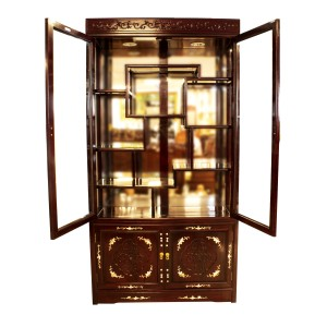 Rosewood Curio  Display Cabinet with Mother of pearls Inlaid Dark Cherry Finish - LK04-000354A