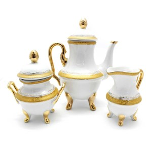 China vintage Iridescent Footed Gold Cut-out Tea Cup Set - LKJW-TS03