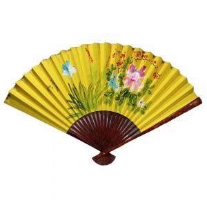 Oriental Beautiful Chinese Bamboo Silk Hand Folding Wall Blossom Flowers & Grass Scenery Yellow  Fan CH FAN