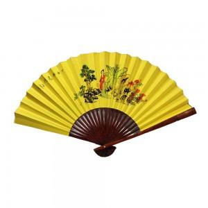 Oriental Beautiful Chinese Bamboo Silk Hand Folding Wall Chinese Woman Landscape Yellow Fan -  CH FAN2