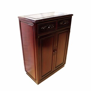 Solid Rosewood Shoe Cabinet Dark Cherry Red Color - LK 29X15X40