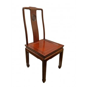Carved Rosewood Oriental Dining Room Chair Longevity Symbol Dark Cheryy Red - LK-DCH01