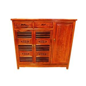 Solid Rosewood 3 Door Shoe Cabinet Carved Cut Through Door Natural Color - LK250 C1