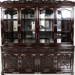 "Solid Rosewood Mother of Pearl Inlaid 72"" Tiger Leg Buffet & Hutch Display Cabinet Dark Cherry Finish with Grape Carvings  - DF-B001A T/L"