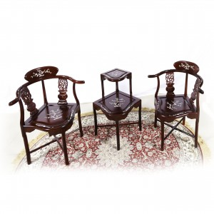 Dark Cherry Solid Rosewood Corner 2 Tier Table and Chairs with Mother of Pearls Inlaid - LK 74-000554