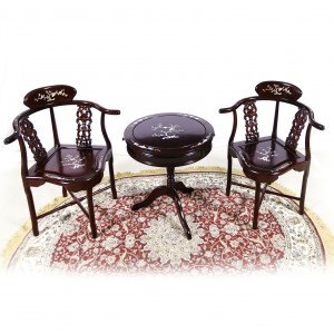 Dark Cherry Solid Rosewood Corner Round table and chairs with mother of pearls inlaid - LK74-000551A C1