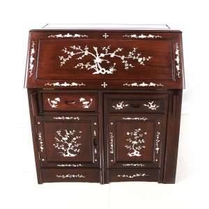 Solid Rosewood Mother of Pearl Inlaid Writing Desk With Hidden Chair Dark Cherry Finish - LK 60-00254A