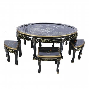 Shiny Black Lacquer Oriental Oval Coffee Table and 6 Stools with Glass Top - LK B-10
