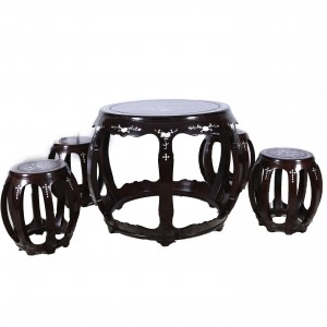 Solid Rosewood Drum Shape Coffee Table & Stool set - LK 20-000654A 5PCS/S