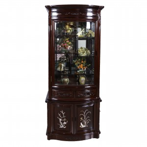 Rosewood Curve Shape Curio Display Cabinet with Mother of Pearls Inlaid Dark Cherry Finish - FS D838A M