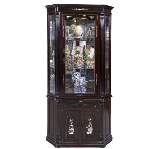 Dark Cherry Rosewood Display Cabinet with Mother of Pearls Inlaid - FS F201 M