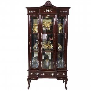Solid Rosewood French Design Three Door Display Cabinet With Queen Anne Leg Dark Cherry Finish - LK B-4