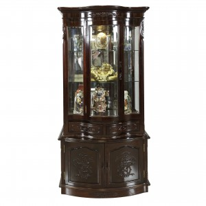 Solid Rosewood Asian Style Display Cabinet with Floral Hand Carvings Dark Cherry Finish - FS D834A