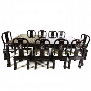 "Solid Rosewood 98"" Dining Set with Mother of Pearl Inlaid Spiral Leg 11 Piece Set Dark Cherry Red - DF-D011A/98 M"