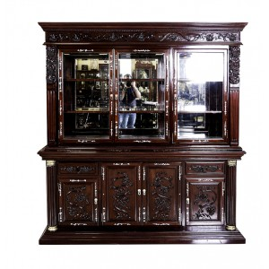 "Solid Rosewood Mother of Pearl Inlaid 72"" Heavy Duty Buffet & Hutch Display Cabinet Dark Cherry Finish with Grape Carvings - DF-B004F"