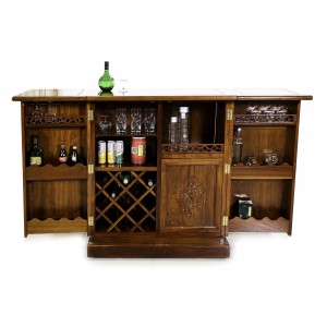 Solid Rosewood Flip Top Bar Cabinet Handmade Grape Carvings With Natural finish - LK02/000221