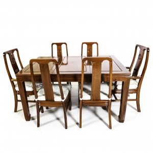 Natural Finish Solid Rosewood  Longevity Rectangle Dining Set with 6 Chairs - DF-C004C