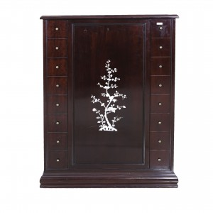 Solid Rosewood Mother of Pearl Inlaid Revolving Bar Cabinet Dark Cherry Finish - LK CA-042