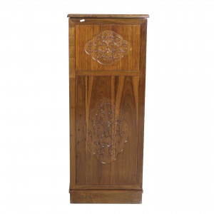 Solid Rosewood Compact Bar Cabinet On Wheels With French Flower Design Carvings Natural Wood Finish - LK CA14/H