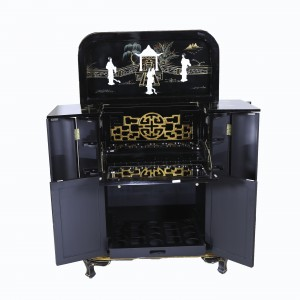 Black Lacquer Hand Painted Liquor Cabinet Mini Bar with Mother of Pearls Geisha Figures - LK/H43/A21