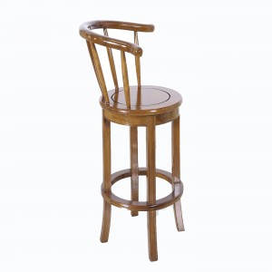 Solid Rosewood Swivel Bar Stool with Armrest Natural Color - LPK BCA