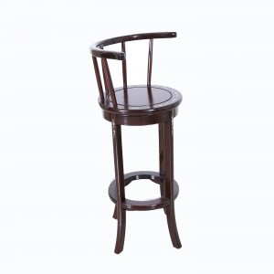 Solid Rosewood Mother of Pearl Inlaid Swivel Bar Stool with Armrest Dark Cherry - LK 20-000154