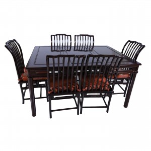Dark Cherry Solid Rosewood Ming Style Dining set with 6 Chairs - DF-D021