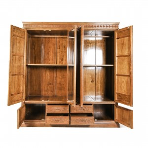 Solid Rosewood Four Door Wardrobe with Natural Finish - D-B02