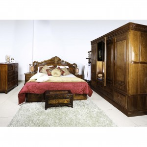 Solid Rosewood Queen Size Bed with Two Nightstand Natural Finish - D-A104