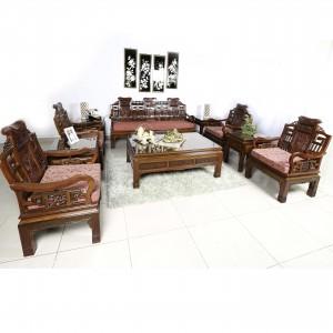 Rosewood Sofa Set Handcarved Four Seasons Design 10 Pcs Set Natural Finish LK-10 PCS