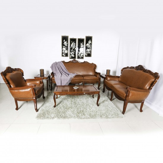 Solid Rosewood Sofa Set Upholstered In Luxurious  Genuine Leather 6 Pcs Set  Queen Anne Leg Design Natural Finish - LK69/001214/6