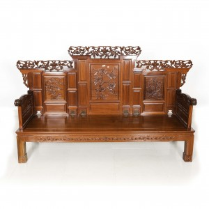 Rosewood Sofa Set With Pierced Open Carvings - 8 Piece Set Natural Finish DF-L009
