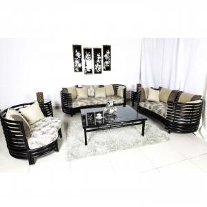 Solid Rosewood Sofa Set 6 Pcs Set Dark Brown Color - LK RD. SOFA