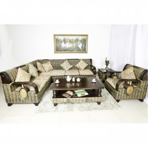 Natural Bamboo Sofa Set  6 Pcs Set Dark Brown - MDF TYX3036