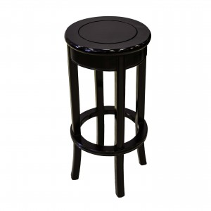 Solid Rosewood Bar Stool with Footrest Antique Black - LPK BC