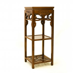 Solid Rosewood Square Flower Stand With Shelves Natural Finish - LPK SQ FS