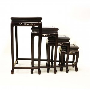Solid Rosewood Nest of Tables French Leg with Mother of Pearls Inlaid 4 Pc/Set Dark Cherry Finish LK 32-000454A 4/SET