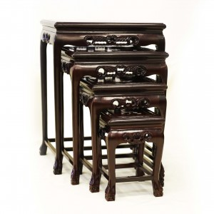 Solid Rosewood Nest of 4 Tables Tiger Paw Leg Carving and Mother of Pearls Inlaid Dark Cherry Finish LK 32-000454B