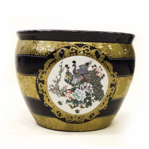 "16"" Dark Blue and Gold Porcelain Peacock with Blossom Chinese Fishbowl Planter - CP JC16"" FB"