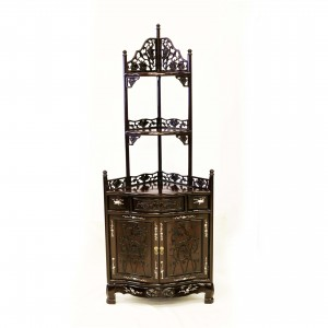 Dark Cherry Solid Rosewood Hand Carved Grape Design Corner Stand with Mother of Pearls Inlaid - DF-C006A
