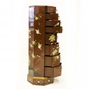 Hand Painted Flowers and Birds Octagonal Pedestal with 8 Drawers Dark Amber Color - LK HA-1897