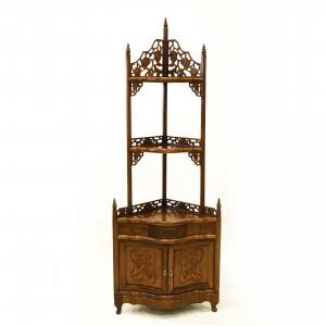Natural Solid Rosewood Hand Carved Grape Design Corner Stand Queen Anne Leg  - LPK CS