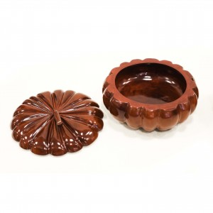 "24"" Pumpkin Shaped Solid Rosewood Storage Box with Lid"
