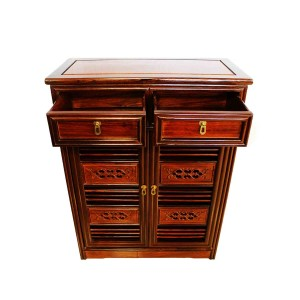 Solid Rosewood Shoe Cabinet Carved Cut Through Door Dark Cherry Color - LK239 C1