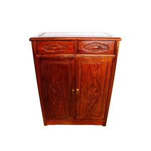 Solid Rosewood Shoe Cabinet Flower and Bird Design Natural Finish - LK10-000 III C1