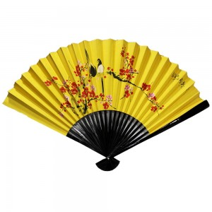 Oriental Beautiful Chinese Bamboo Silk Hand Folding Wall Fan with Birds on Tree Blossom Yellow - CH