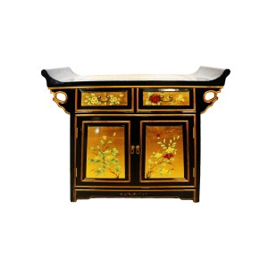 Oriental Altar Entrance Cabinet Lacquered Gold Black Finish - LK5132