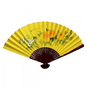 Oriental Beautiful Chinese Bamboo Silk Hand Folding Wall Blossom Scenery Yellow - CH FAN1
