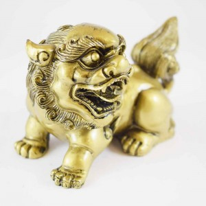 Feng Shui Pair Of Brass Fu Dogs Guardians Of Wealth And Negativity Good For Entrances Of Businesses And Homes  (A Symbol Of Loyalty And Guardianship)-YC-2FUD01
